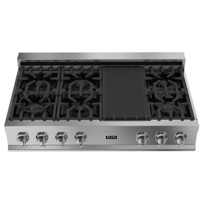 ZLINE 48 in. Porcelain Gas Rangetop with 7 Burners (RT-48) - Bison Kitchens