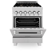 Load image into Gallery viewer, ZLINE 24 in. 4.0 cu. ft. 4 Dual Fuel Range in Durasnow® Stainless Steel with Brass Burners (RAS-SN-BR-24)