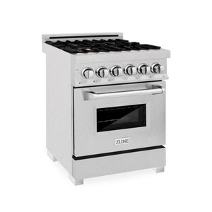 ZLINE 24 in. 4.0 cu. ft. 4 Dual Fuel Range in Durasnow® Stainless Steel with Brass Burners (RAS-SN-BR-24)