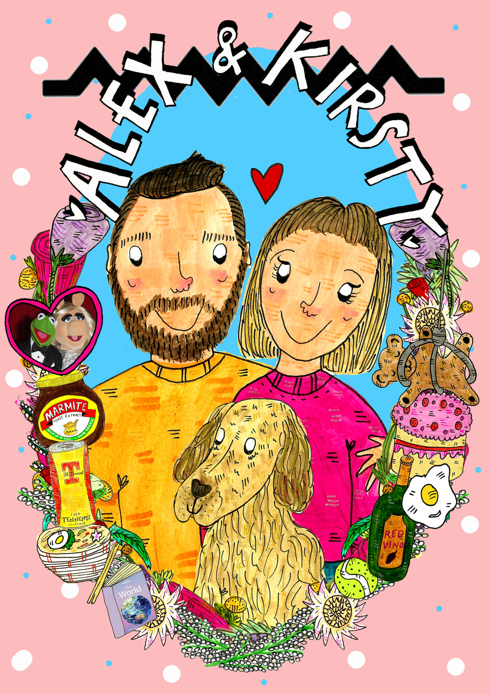 Custom Drawn Couple Portrait