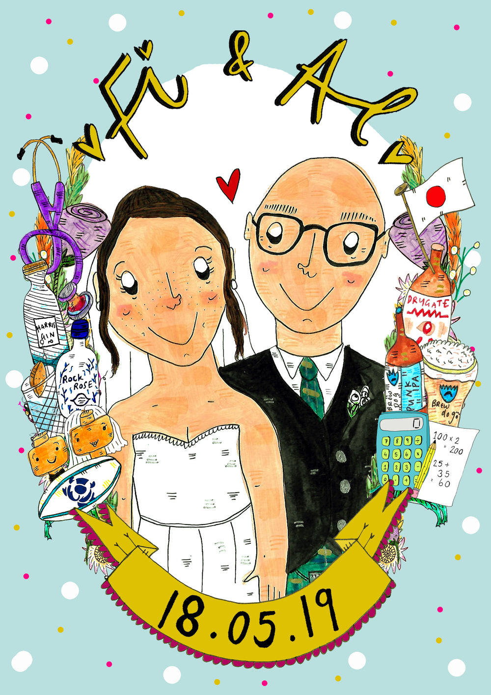Custom Drawn Wedding Couple Portrait