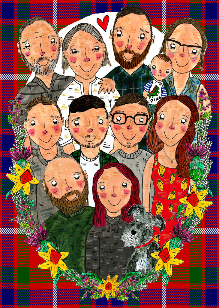 Custom Drawn Family Portrait