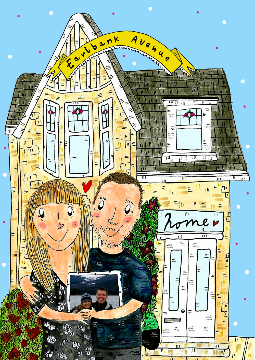 Custom Drawn House Warming Portrait, Family, Couples or Friends in front of their home!