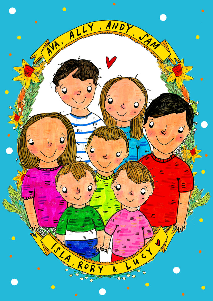 Kids Portrait, siblings, cousins or best friends drawn together!