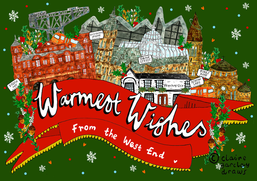 Warmest Wishes From the West End Glasgow Christmas Card