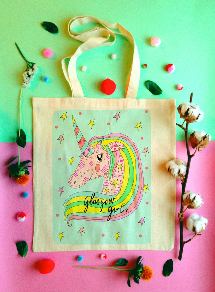 Glasgow Girl Unicorn Tote Bag