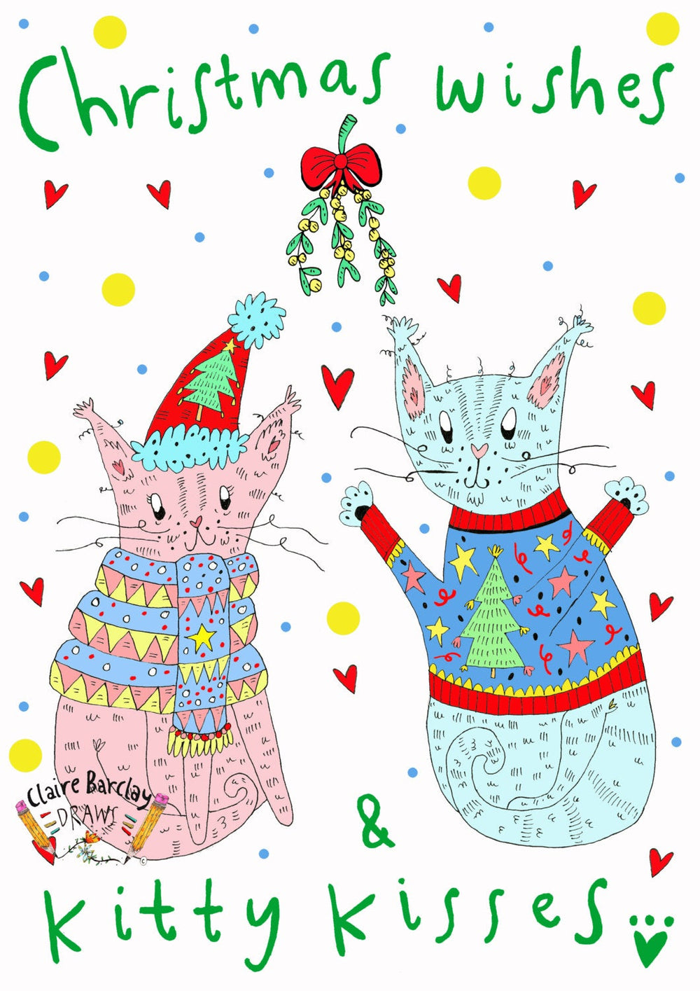 Christmas Wishes and KITTY KISSES! Xmas Card