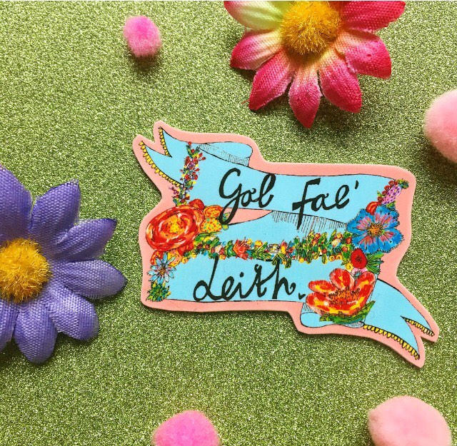 GAL FAE LEITH Illustrated Brooch, Floral Cute Girly Pin Badge, Quirky Scottish Gift