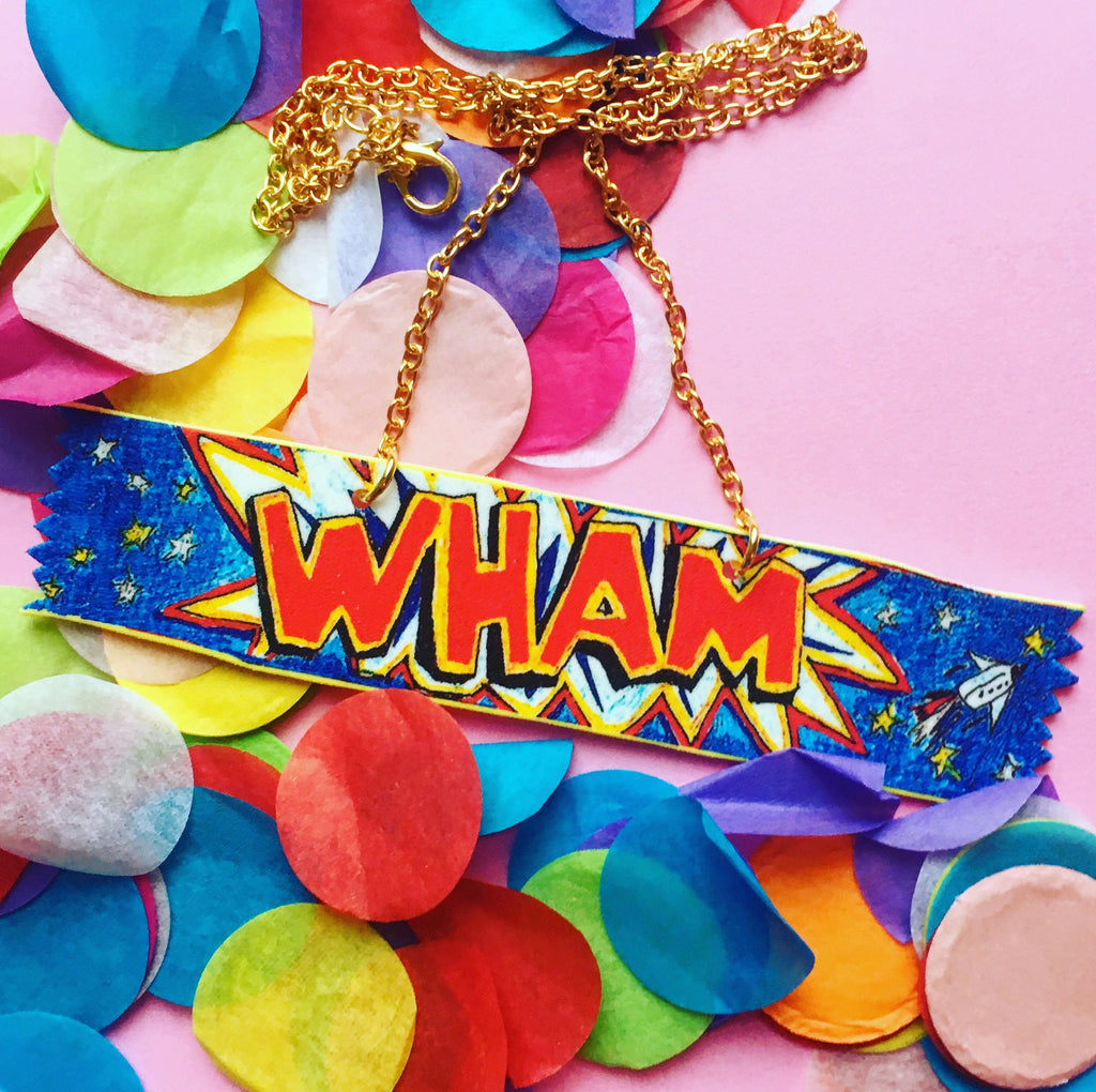 Wham Bar Necklace, Classic Retro Sweet Illustrated in Necklace Form! Scottish Sweet Necklace