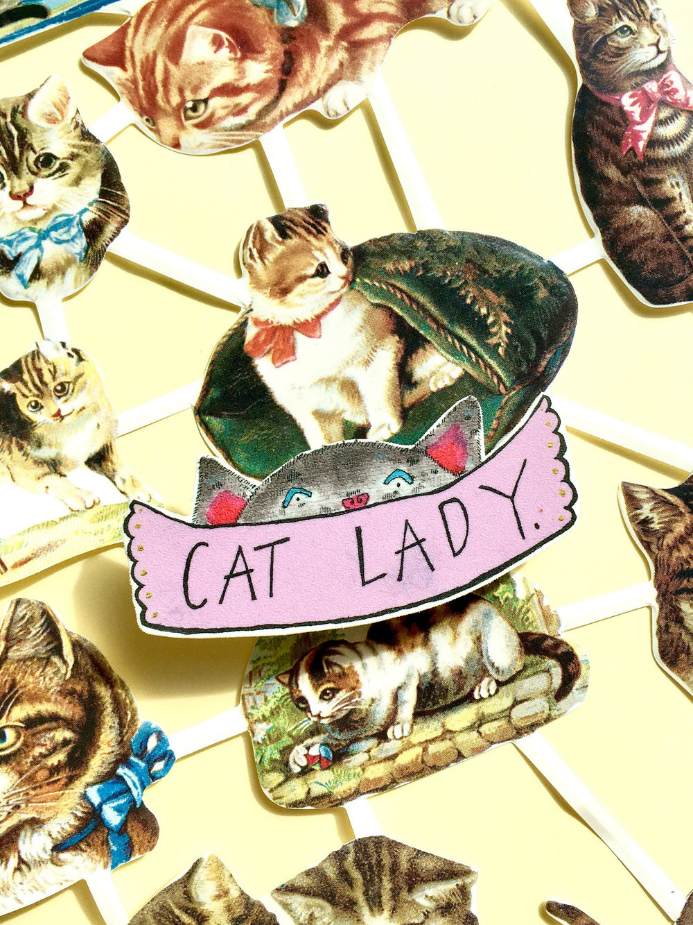 Cat Lady Illustrated Brooch, Quirky Cute Cat Handmade Jewellery, Brooch with Plastic Charm, Cat Illustration, Cat Pin Badge