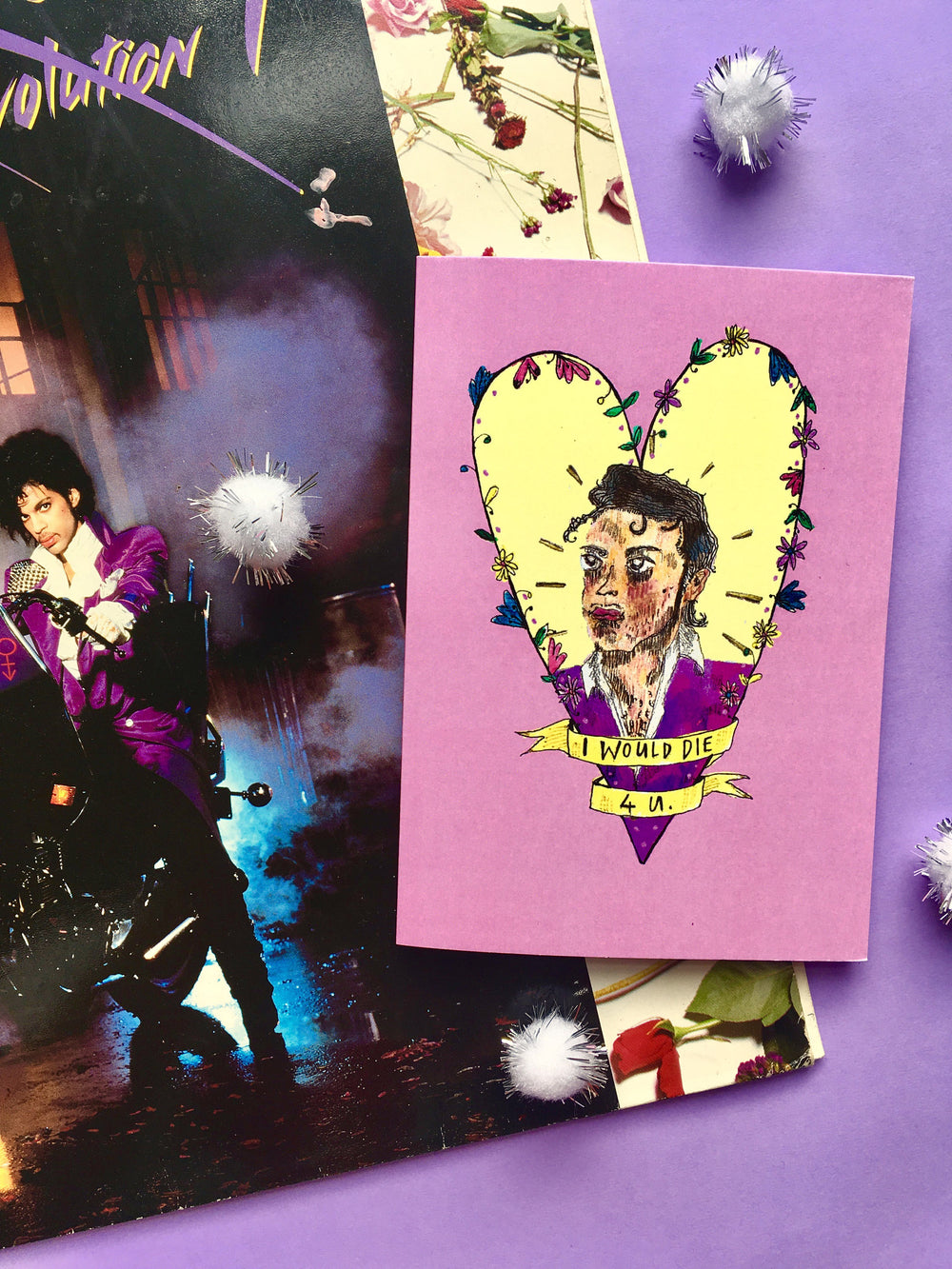 PRINCE I WOULD DIE 4 U Greetings Card, Prince Song Lyrics Typography, Blank for all Occasions, Perfect Valentine for Prince Fans!