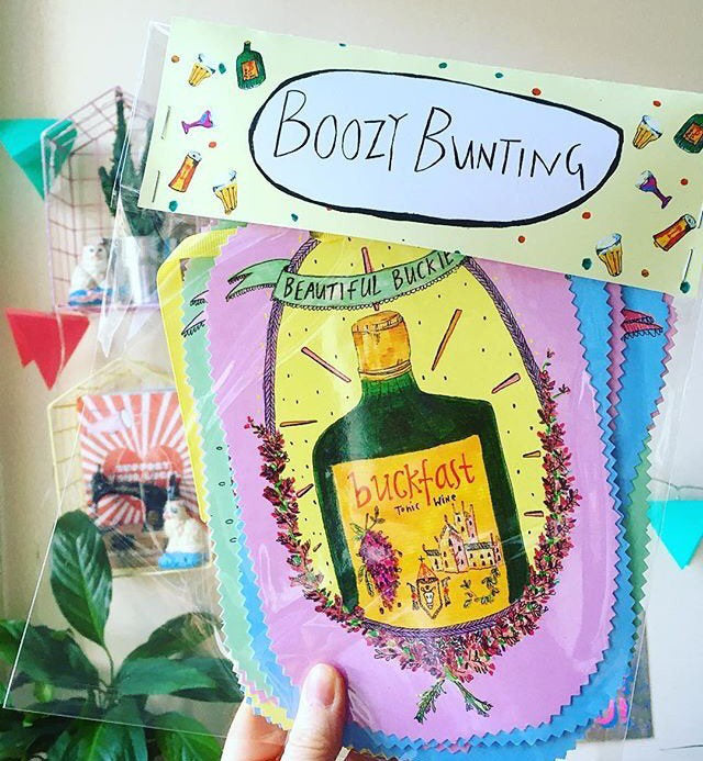 Boozy Bunting! Illustrated Booze Bottles Bunting