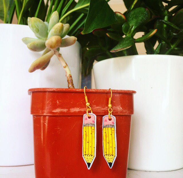 Pencil Illustrated Earrings
