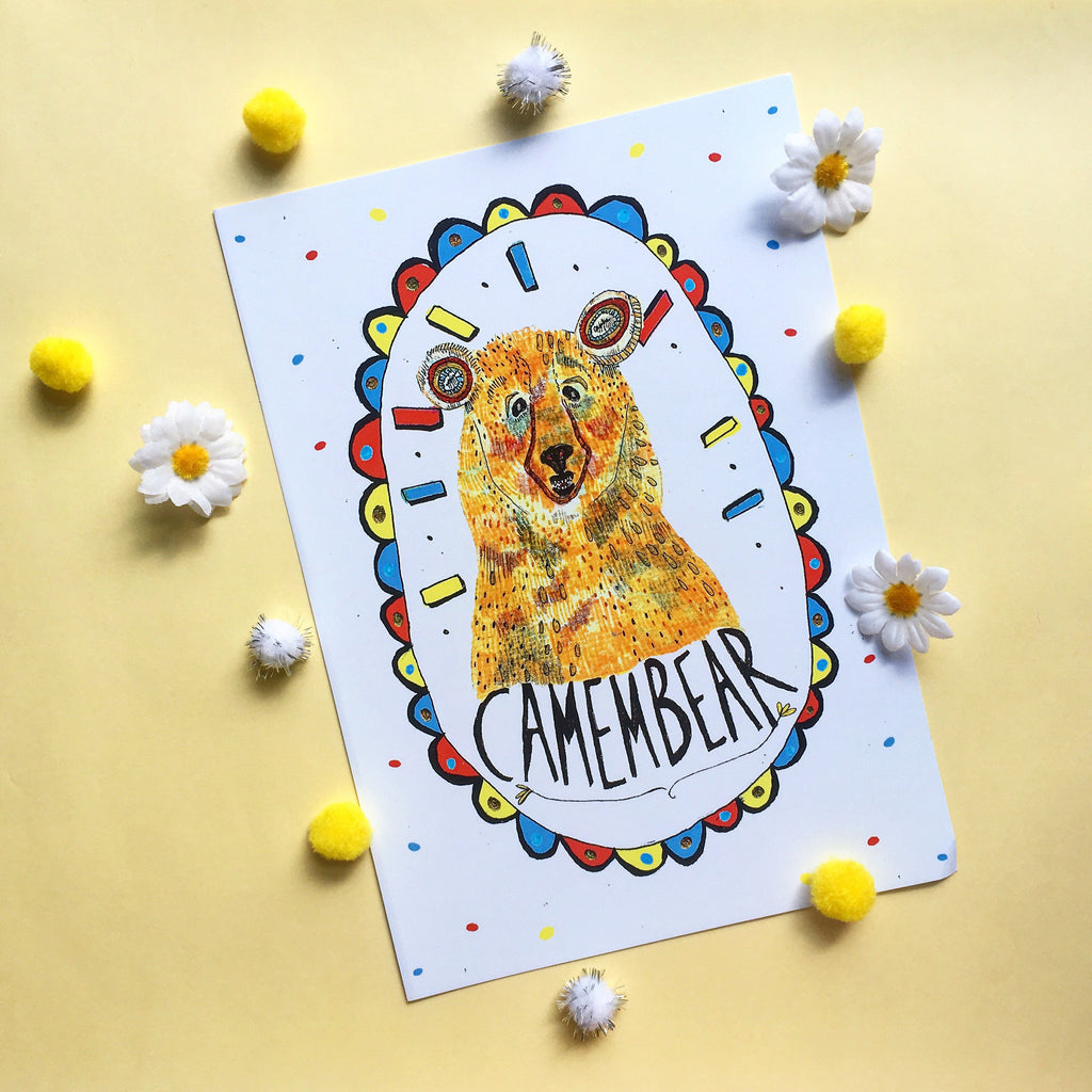 Camembear Illustration Print