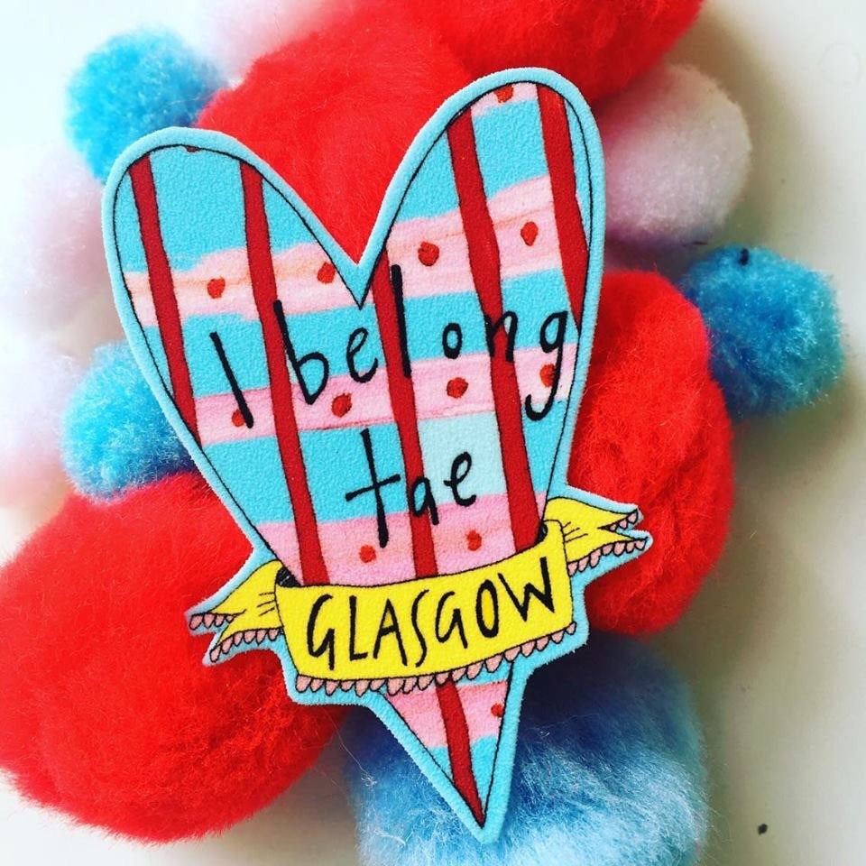 I Belong Tae Glasgow Brooch, Illustrated Glasgow Heart Badge, Quirky Scottish Pin
