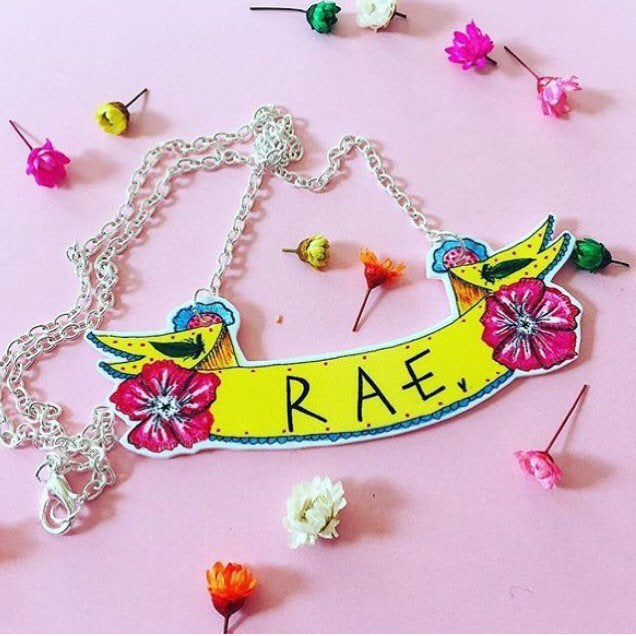 Personalised Name Banner Necklace, Cute Floral Necklace With Custom Text, Illustrated Necklace, Quirky Original Gift Idea