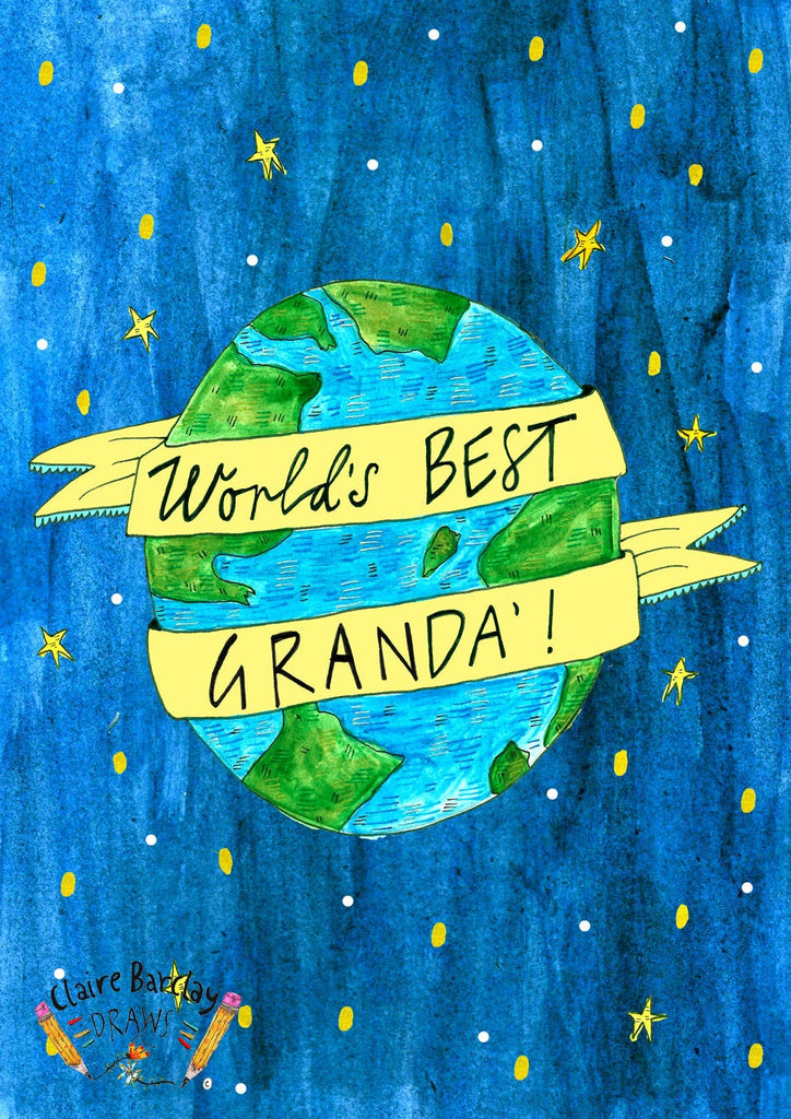 Worlds BEST Granda', Father's Day Greetings Card, Scottish Slang Typography Quirky Fathers Day Card, Fun Card for a Pure Braw Grandad
