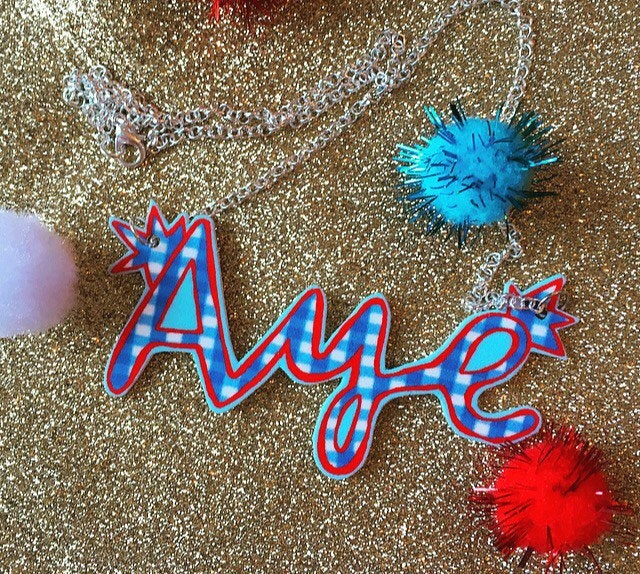 AYE illustrated necklace, Scottish Slang Necklace