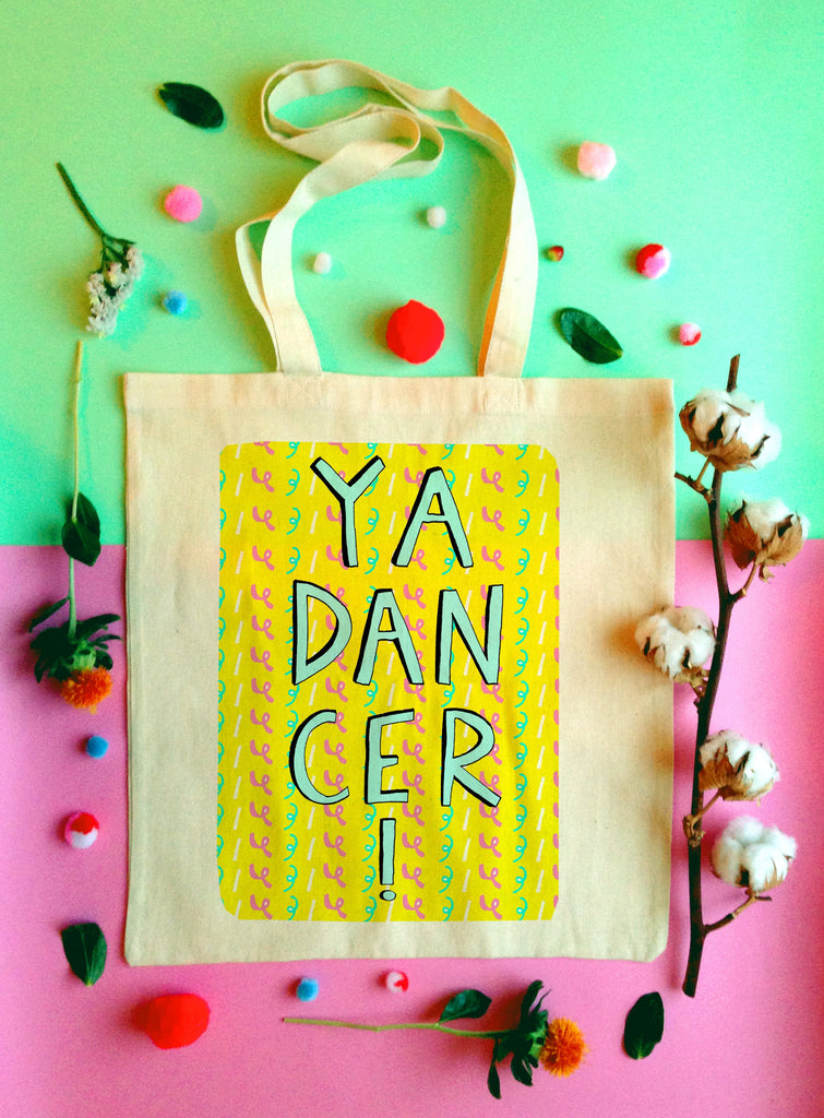 YA DANCER Tote Bag, Scottish Slang Phrase Illustrated Tote, Quirky Typography Cotton Shopper