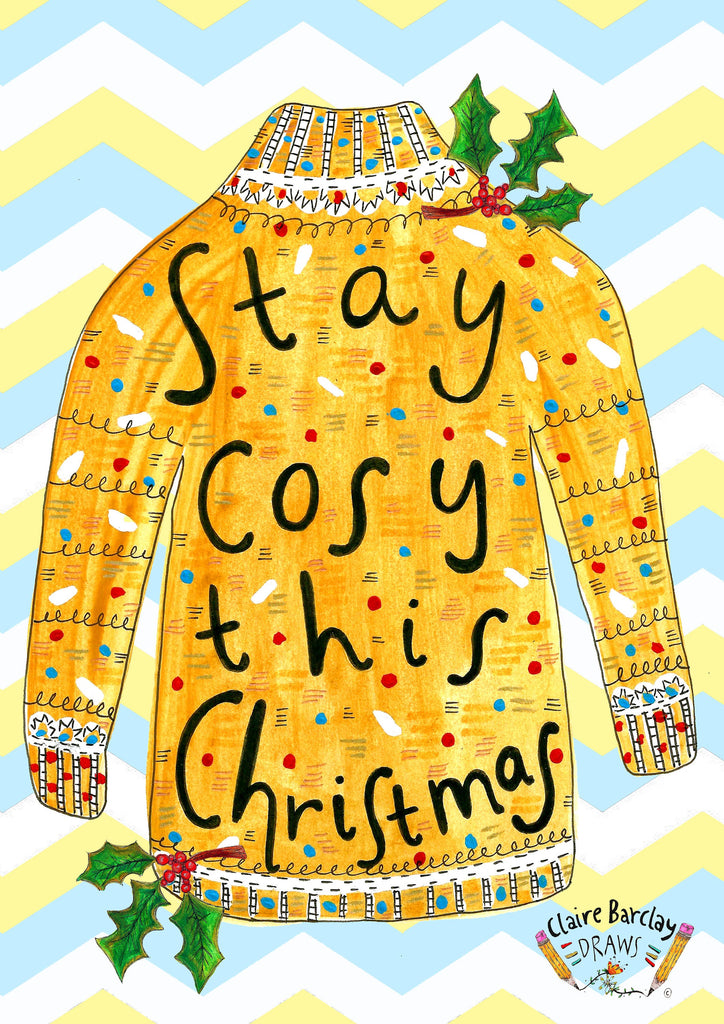 Stay Cosy This Christmas Greetings Card, Knitted Jumper Xmas Card