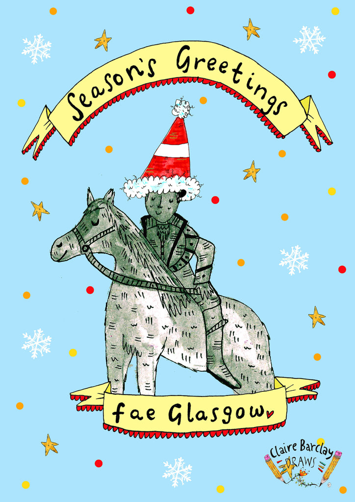 Seasons Greetings Fae Glasgow Christmas Greetings Card, Duke of Wellington Xmas Card