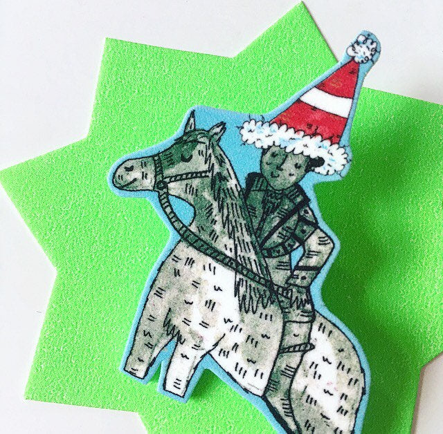 SANTA HAT Duke Of Wellington Illustrated Brooch