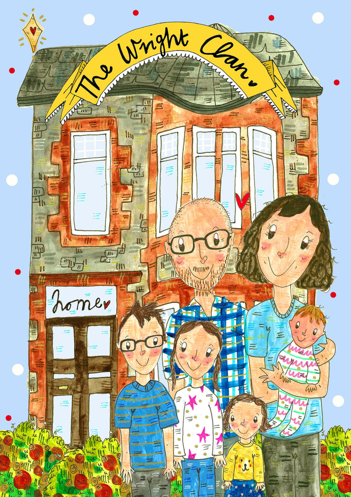 Custom Drawn House Warming Portrait, Family, Couples or Friends in front of their new home!