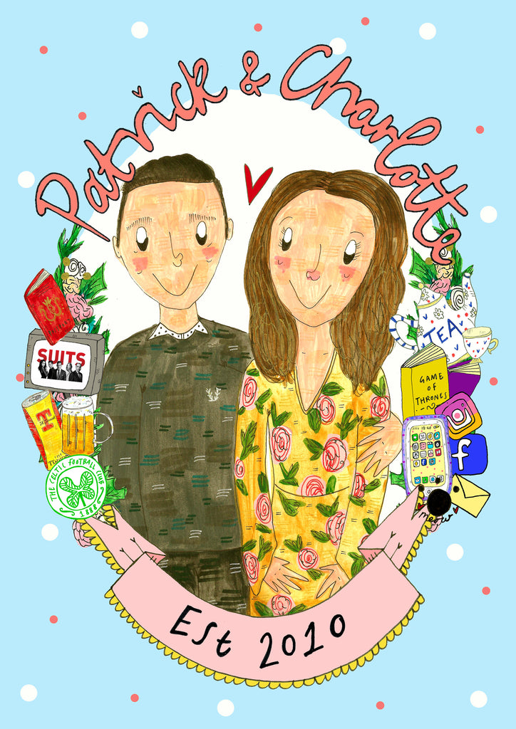 Custom Drawn Couple Portrait, perfect quirky gift for your partner, best pal or family member!