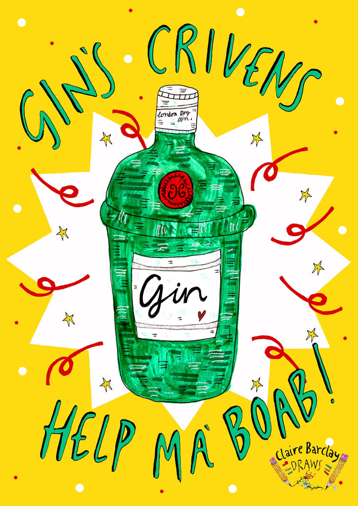 Gins Crivens Help Ma Boab Greetings Card
