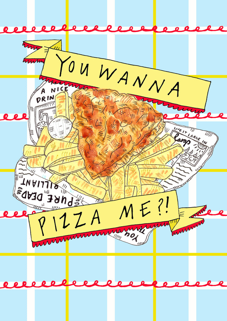 You Wanna Pizza Me?! Pizza Crunch Illustrated Tote Bag, Scottish Humour Cotton Shopper Bag