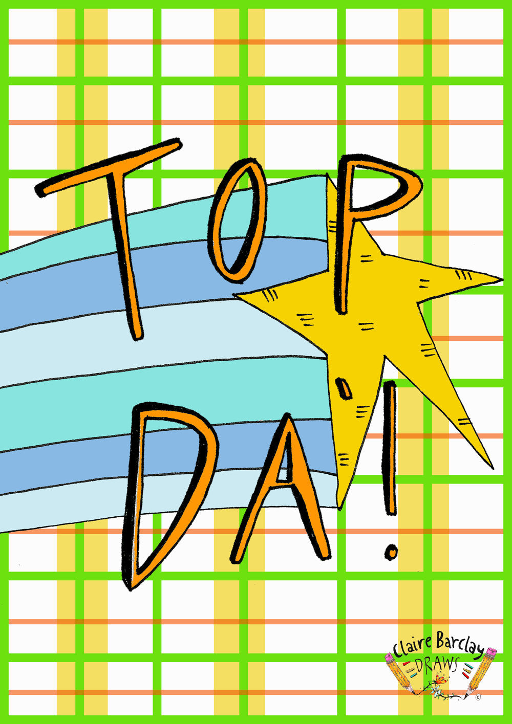 TOP DA', Father's Day Greetings Card, Scottish Slang Typography Dad's Day Card