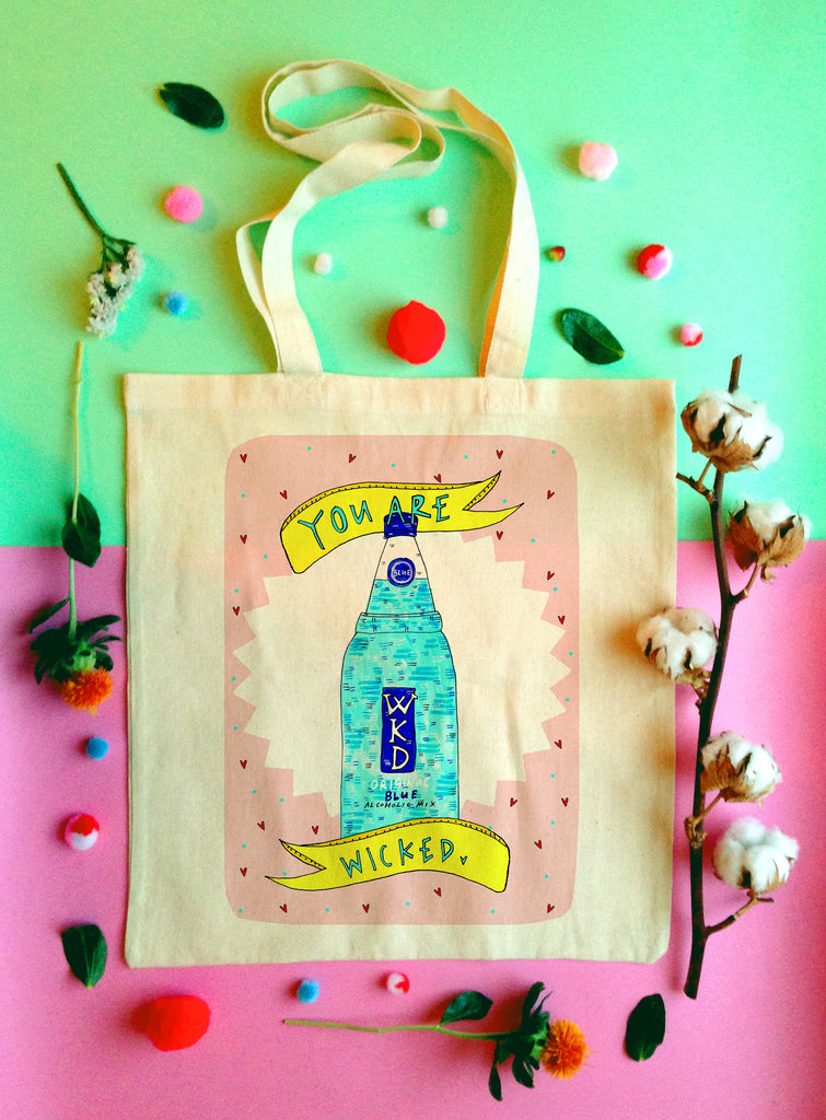 You are Wicked Illustrated Tote Bag, Fun Blue WKD Cotton Shopper Bag