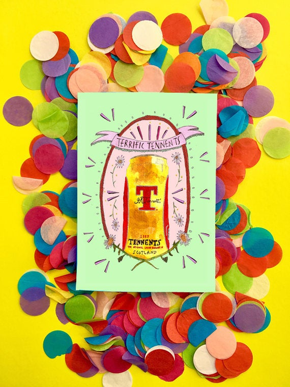 Terrific Tennents Greetings Card, Scottish Alcohol Card, Blank for all Occasions, Classy Alcohol Quirky Fun Card, Illustrated Boozy Card