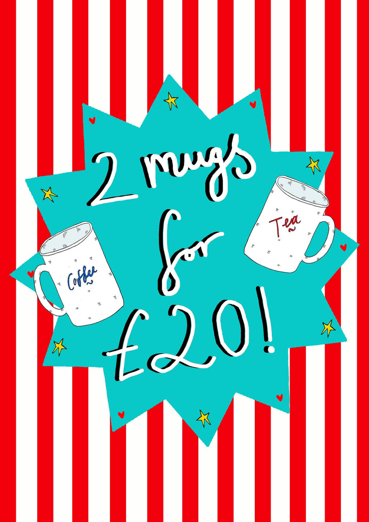 ANY 2 MUGS For Twenty Pounds, Mix and Match From All Mugs Available!