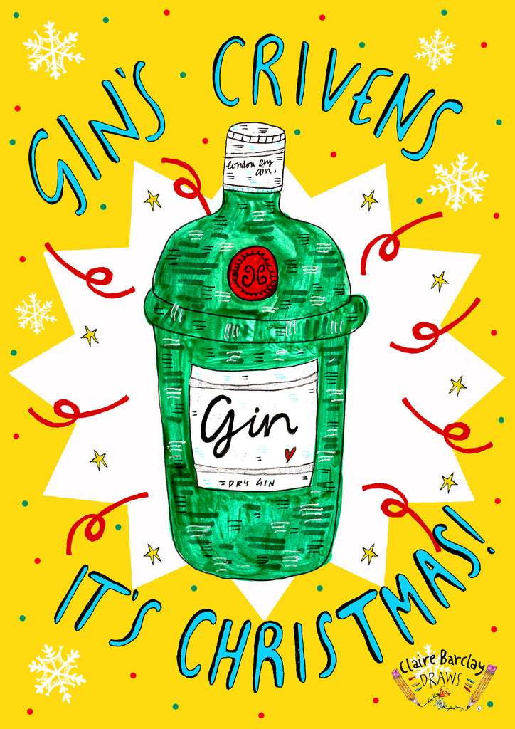 GINS CRIVENS it's Christmas! Xmas Greetings Card, Gin Lover Scottish Phrase Christmas Card