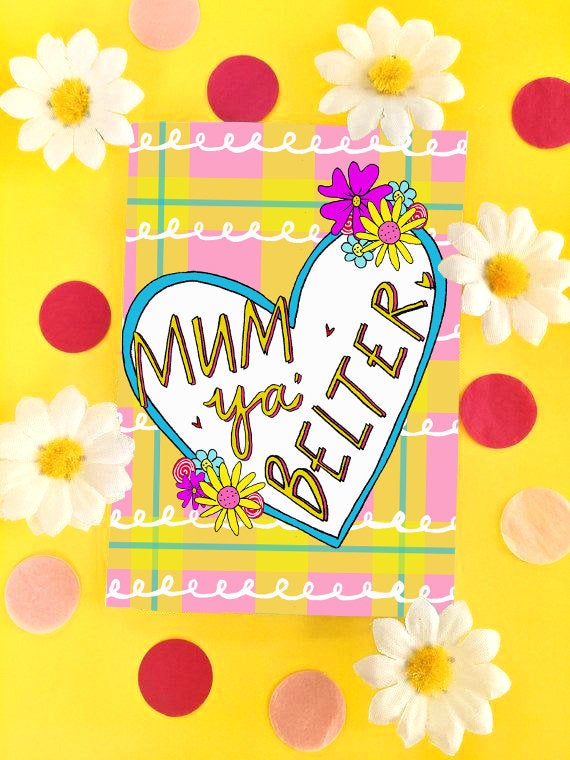 Mum Ya Belter Mother's Day Greetings Card, Scottish Slang Card for a Fabulous Maw