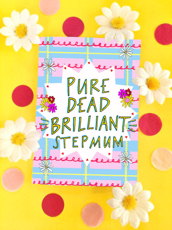 Pure Dead Brilliant Step Mum Mother's Day Greetings Card, Scottish Slang Card for a Fabulous Step Mum