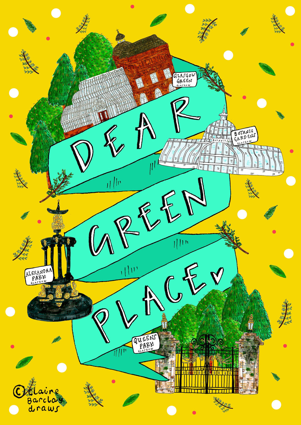 DEAR GREEN PLACE Glasgow Art Print, Scottish Typography Illustration