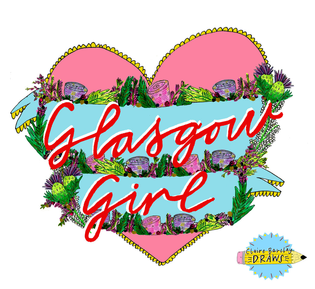 Glasgow Girl Heart Tote Bag, Illustrated Cotton Shopper Bag for a proud Glesga Gal!