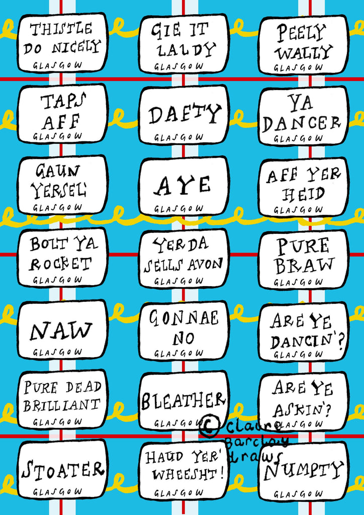 Glasgow Slang Street Signs Greetings Card