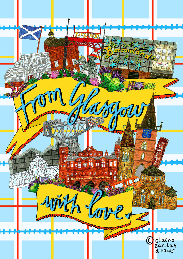From Glasgow With Love Greetings Card, Blank for all Occasions