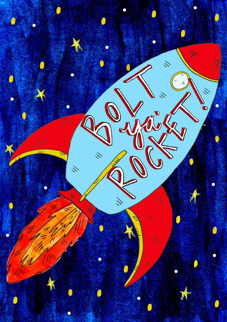 BOLT YA ROCKET! Greetings Card
