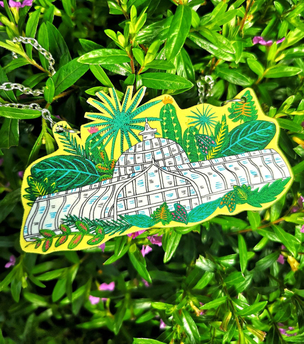 Botanical Gardens Illustrated Necklace, Glasgow Kibble Palace Necklace