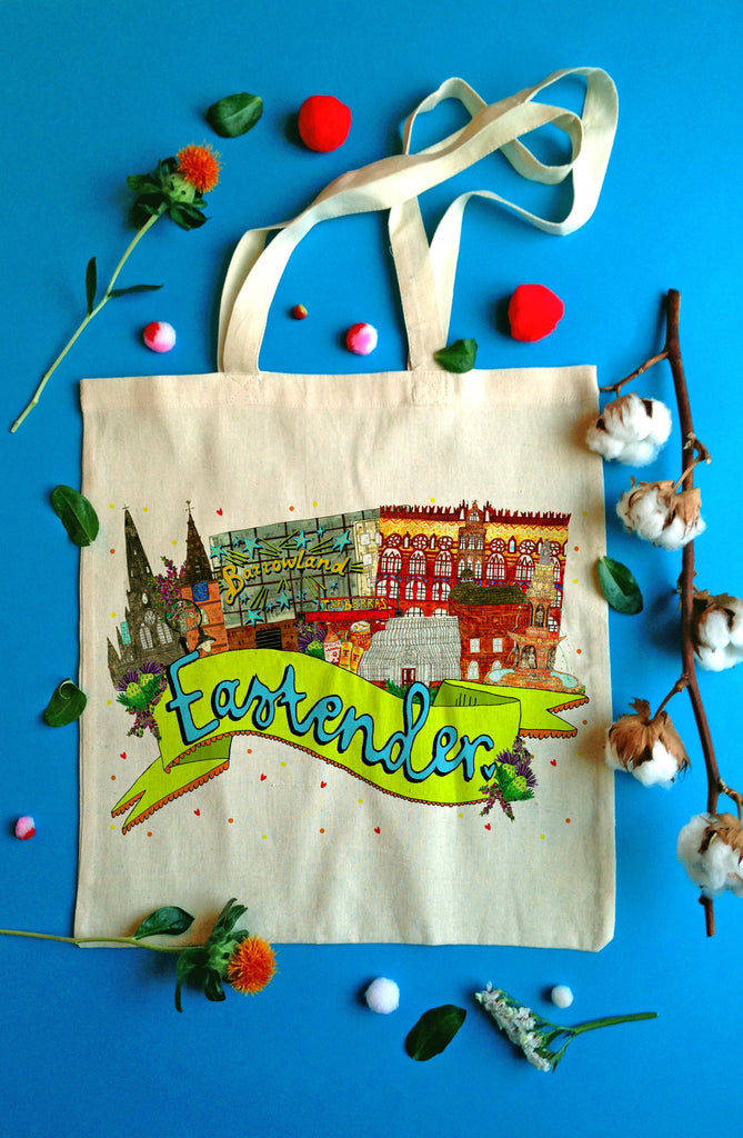 Eastender East End of Glasgow Landmarks Tote Bag, Illustrated Cotton Shopper Bag for a Proud East Ender!