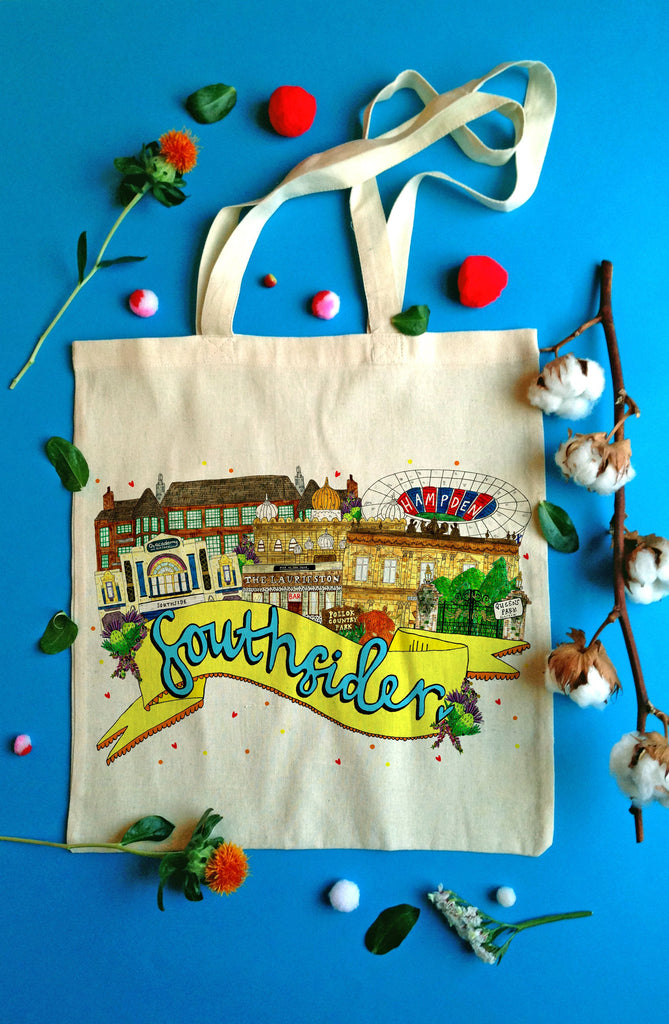Southsider South Side of Glasgow Landmarks Tote Bag, Illustrated Cotton Shopper Bag for a Proud South Sider!