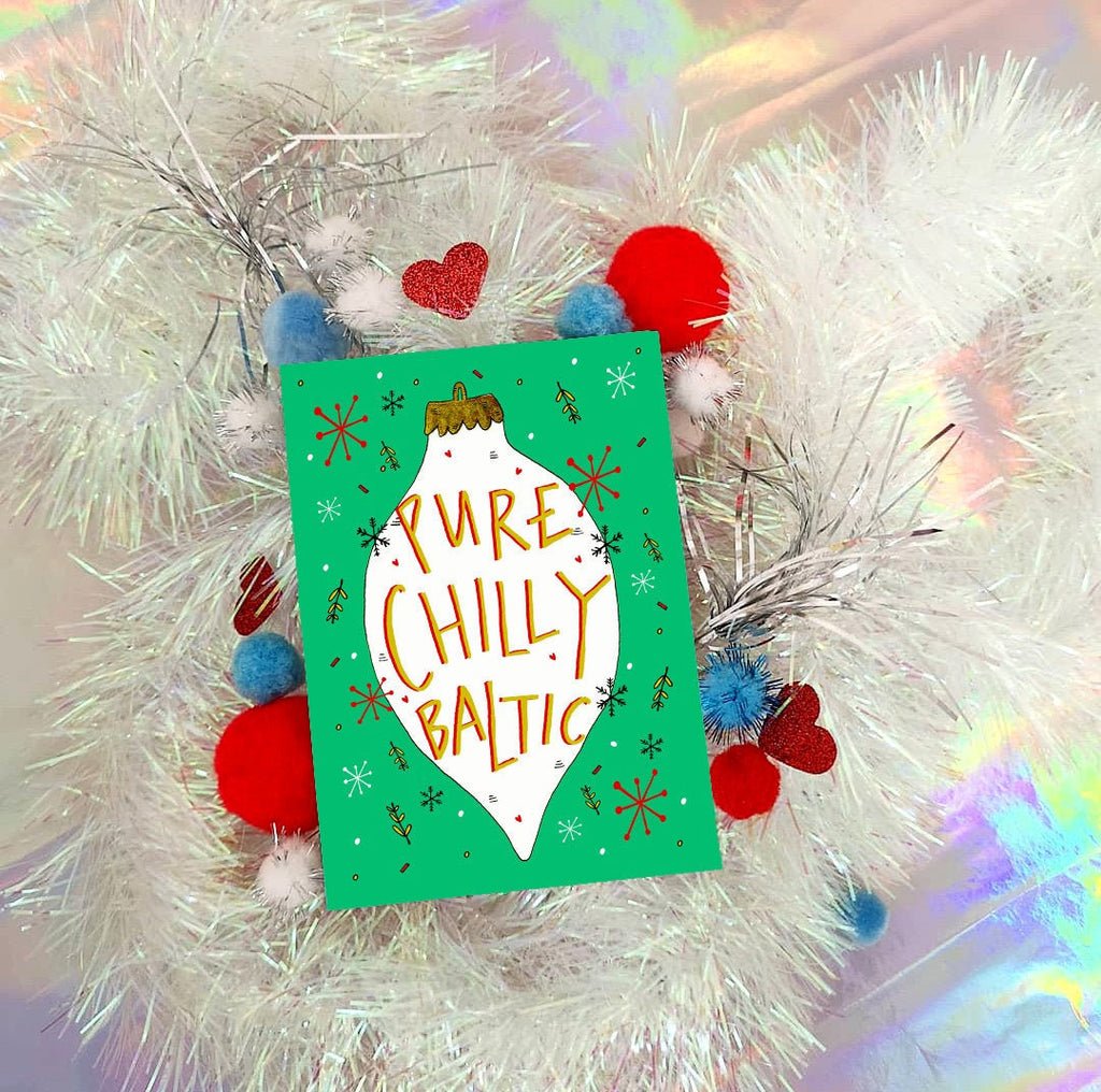 Pure Chilly Baltic! Retro Christmas Bauble Greetings Card, Scottish Slang Humour Festive Card