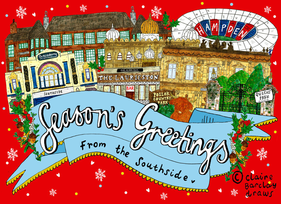 Seasons Greetings From the South Side of Glasgow Christmas Greetings Card, Glasgow South Side Xmas Card