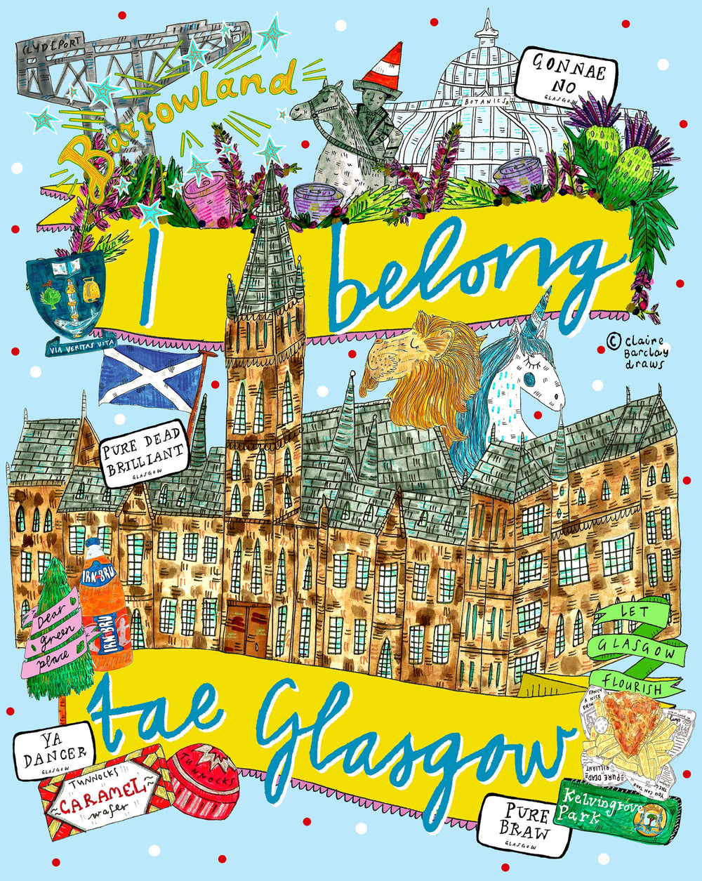 I Belong Tae Glasgow University Landmarks Tote Bag, Illustrated Cotton Shopper Bag perfect for a Proud Glaswegian/Glasgow Uni Student!