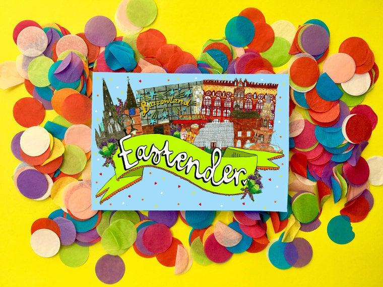 East Ender, East End of Glasgow Card, East End Landmarks Card, Blank for all Occasions