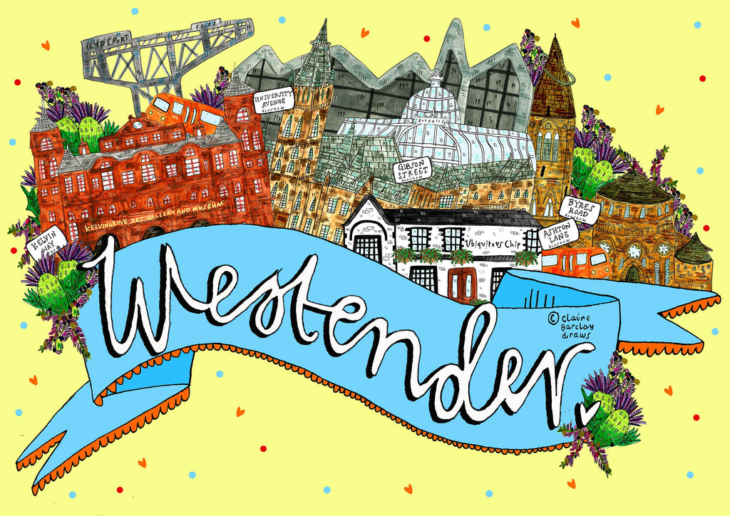 WestEnder Art Print, West End of Glasgow Landmarks Illustration Print